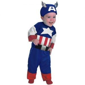 Disguise Marvels Super Hero Squad Captain America Infant Costume, Red/White/Blue, 18 Months