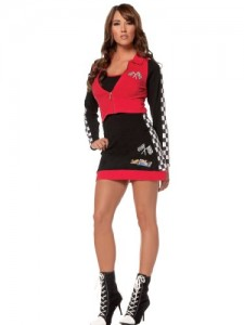 Red Racer Sexy Racing Costume Dress Checkered Flag Womens Theatrical Costume Sizes: Large