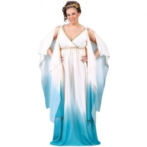 Halloween-Costume-Zone.com - FunWorld Plus-Size Greek Goddess, Creme/Light Blue, 16W-24W Costume