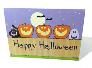 Halloween-Costume-Zone.com - Happy Halloween - Pumkins on a Fence Greeting Card - 18 Cards/19 Envelopes