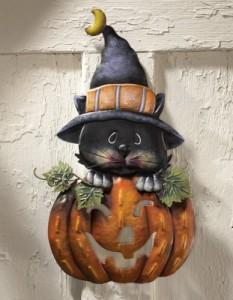 Halloween-Costume-Zone.com - Pumpkin & Kitty Metal Halloween Door Decoration