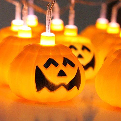 Set of 16 Halloween Party String Lights Batteries Operated Jack-o-lantern Pumpkin Lighted Lantern Halloween Lighting Decoration 16 LED Light