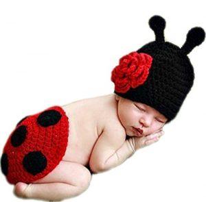 Jubileens Cute Baby Infant Ladybug Crochet Costume Photo Photography Prop Clothes