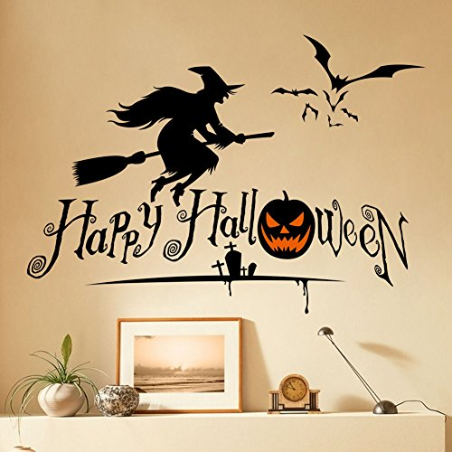 Dnven (27″w X 19″h) Happy Halloween Pumpkins Spooky Cemetery Witch and Bats Tomb Wall Decals Window Stickers Halloween Decorations for Kids Rooms Nursery Halloween Party