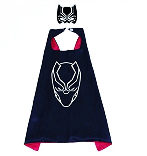 Black Panther Superhero Cape And Mask Costume Set Boys Kids Age 2 10 Dress Up Birthday