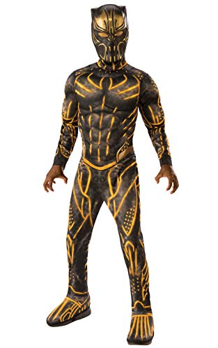 Rubie's Child's Deluxe Black Panther Movie Erik Killmonger Costume, Black/Gold, Large