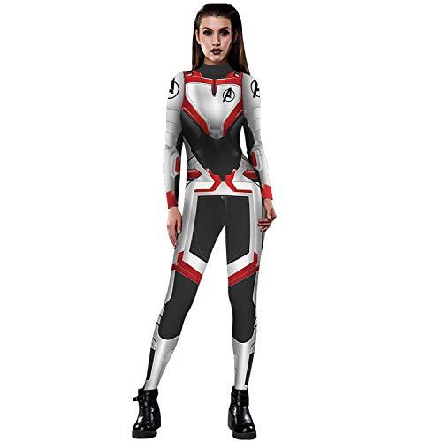 Women Captain Marvel Halloween Costume Superhero 3D Jumpsuit Bodysuit (Avenger)