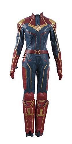 Captain Marvel Carol Danvers Superhero Cosplay Costume Leather Girl Outfit